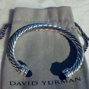 David Yurman 7mm Onyx Diamond Cable Bracelet